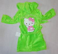 """Детский махровый халат """"Китти"""" для девочек, САЛАТОВЫЙ размер 52(26), фото 1"""