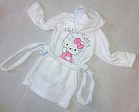 """Детский махровый халат """"Китти"""" для девочек, БЕЛЫЙ размер 56(28), 64(32)"""