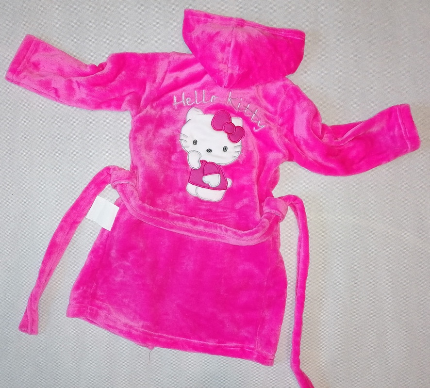 """Детский махровый халат """"Китти"""" для девочек, РОЗОВЫЙ размер 60(30)"""