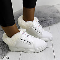 Женские зимние кроссовки кеды ботинки белые с меховой опушкой