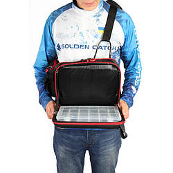 Сумка GC Sling Bag спиннингиста плечевая (34х24х12 см), сумка с коробками для воблеров, блесен, приманок