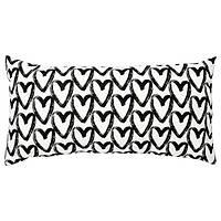 Подушка декоративная чёрно-белая сердечки 30x58 см IKEA ЛЮКТФІББЛА ИКЕА