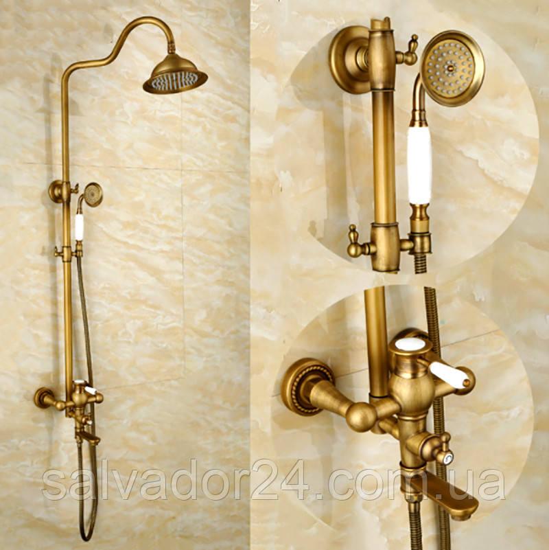Душевая система Deco 6135 DBR бронза в античном стиле  из латуни для ванной комнаты