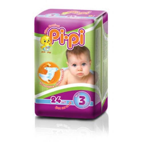 Подгузник детский Pi-Pi №3 Midi (4-9 кг) 24шт/уп (4820000112574)