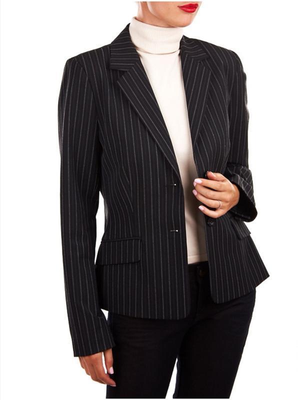 Стильный женский шерстяной деловой жакет пиджак в элегантную полоску 46-48 размер