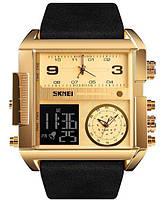 Оригинальные наручные часы Skmei 1391S с хронографом, водонепроницаемые, цвет желтого золота, фото 1