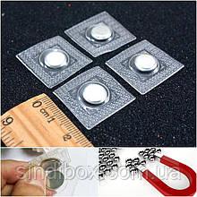 (10 шт - 5 пар) Кнопка-магнит потайной неодимовый, вшивной Ø10 мм Цвет - Серебро (сп7нг-4227)