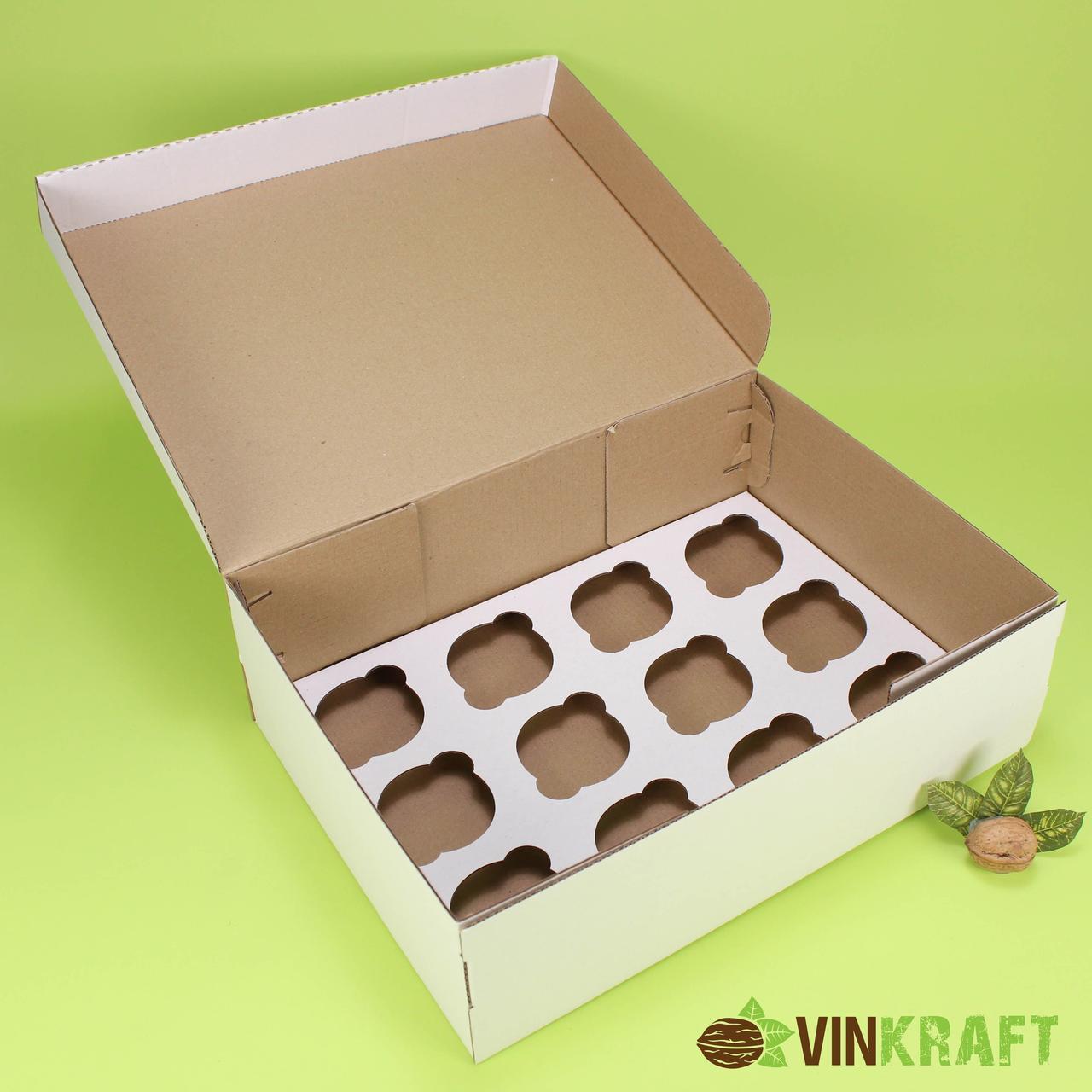 Коробка 350*250*100 для капкейков (12 шт) гофрокартон