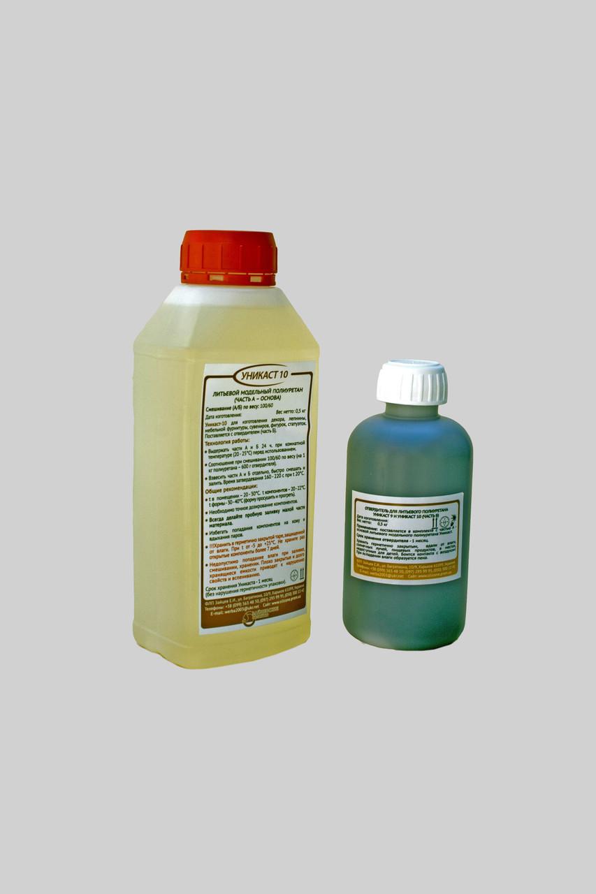 Двухкомпонентный полиуретановый пластик UniCast-10 упаковка 0,8 кг (литьевой модельный пластик)