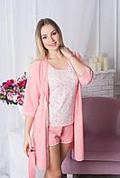 Комплект пижама + халат К717п Персиковый