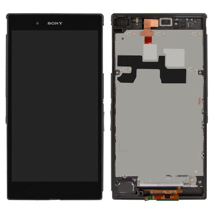 Дисплей (экран) для Sony C6802 XL39h Xperia Z Ultra с сенсором (тачскрином) и рамкой черный Оригинал