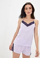 Шелковая пижама с оригинальной спинкой Пл1080 Лаванда