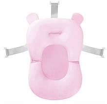 Матрасик для купания противоскользящий с ремнями безопасности для детской ванной Baby Bath Pillow розовый