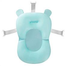 Матрасик для купания противоскользящий с ремнями безопасности для детской ванной Baby Bath Pillow голубой