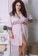 Шелковый женский халат в больших размерах Х925 Мокко