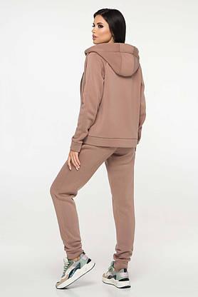Женский спортивный костюм теплый с капюшоном капучино, фото 3