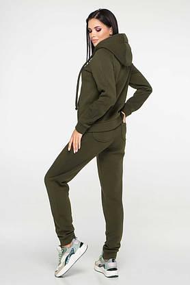 Женский спортивный костюм теплый с капюшоном хаки, фото 2