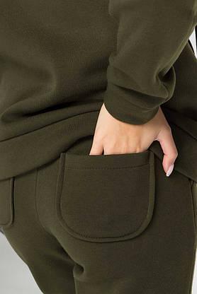 Женский спортивный костюм теплый с капюшоном хаки, фото 3