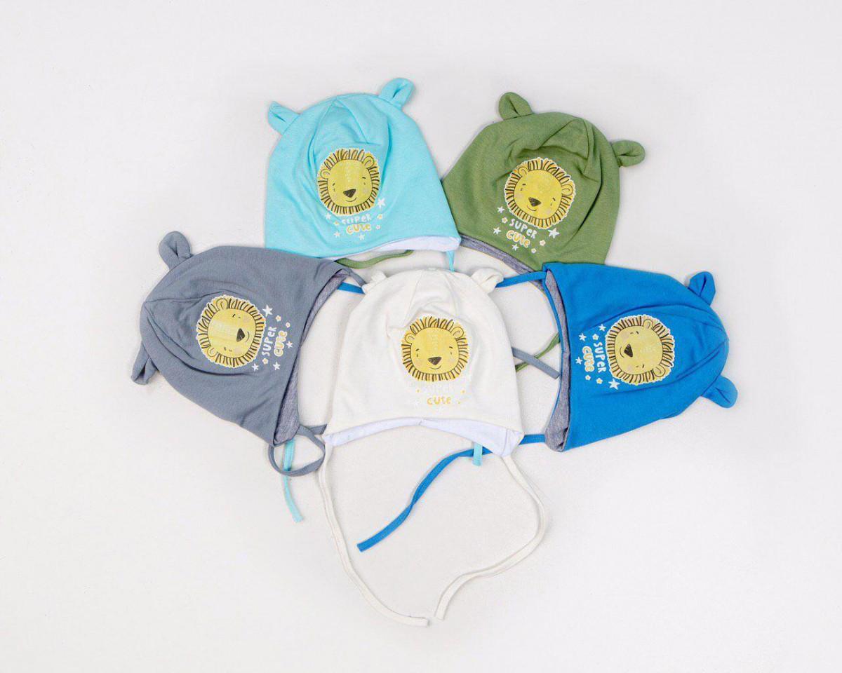 Шапка з вушками для маленького хлопчика 3-6 місяців на весну-осінь - Артикул 2615