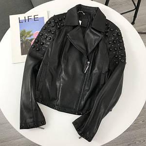 Стильная женская куртка из экокожи с бусинами на заклепках 42-46 р