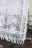 """Церковный женский платок на голову красивый с кружевом и бахромой """"Вероника"""" белого цвета, фото 4"""
