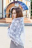 """Церковный женский платок на голову красивый с кружевом и бахромой """"Вероника"""" белого цвета, фото 2"""