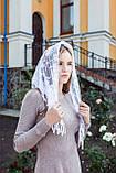 """Церковный женский платок на голову красивый с кружевом и бахромой """"Вероника"""" белого цвета, фото 3"""