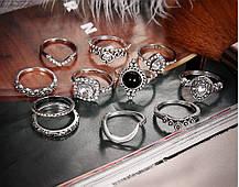 Кольца на Фаланги Женские Фаланговые City-A Цвет Серебряные Набор из 11 шт колец Бохо Этно №2910, фото 3