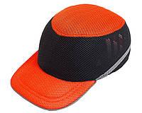 Каска-бейсболка ударостійка Vita - оранжево-чорна | PK-0011