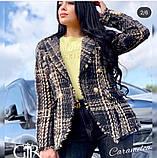 Женский стильный пиджак копия Balmain ткань букле на подкладке, фото 3