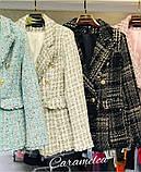 Женский стильный пиджак копия Balmain ткань букле на подкладке, фото 4