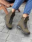 Стильные женские зимние замшевые ботинки Vikont зеленого цвета, фото 2