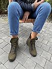 Стильные женские зимние замшевые ботинки Vikont зеленого цвета, фото 3