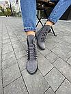 Стильні жіночі зимові замшеві черевики Vikont сірі, фото 3