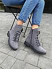 Стильні жіночі зимові замшеві черевики Vikont сірі, фото 2