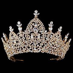 Величезна діадема - Неймовірна (Золотиста з прозорим каменем)