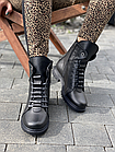 Стильні жіночі зимові шкіряні черевики чорні Vikont, фото 3