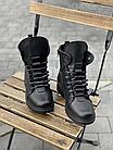 Стильні жіночі зимові шкіряні черевики чорні Vikont, фото 4