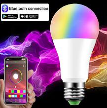 Лампа 15W Е27 RGB LED світлодіодна мультикольорова Smart з управлінням зі смартфону по bluetooth