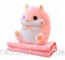 Игрушка подушка плед Хомяк серый/розовый ,плед в игрушке, фото 2