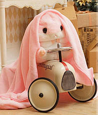 Игрушка подушка плед Хомяк серый/розовый ,плед в игрушке, фото 3