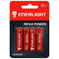 Батарейка щелочная Enerlight Mega Power LR6 AA пальчиковая (блистер)