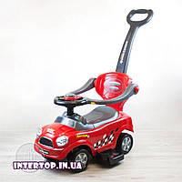Детская Машинка каталка толокар с родительской ручкой Mini Cooper Z 321 красный