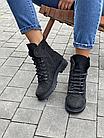 Стильні жіночі зимові замшеві черевики чорні матові Vikont, фото 4