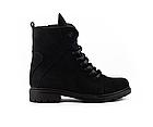 Стильні жіночі зимові замшеві черевики чорні матові Vikont, фото 6