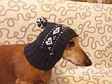 Зимняя шапка для маленькой собаки,шапка для таксы,шапка для собаки до 10 кг, фото 3