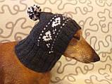 Зимняя шапка для маленькой собаки,шапка для таксы,шапка для собаки до 10 кг, фото 7