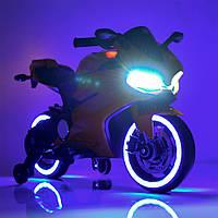 Детский электромобиль мотоцикл с подсветкой колес M 4104ELS-4 синий автопокраска