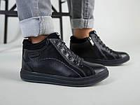 Демисезонные черные кожаные ботиночки для мальчика