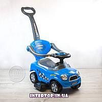 Детская Машинка каталка толокар с родительской ручкой Mini Cooper Z 321 синий